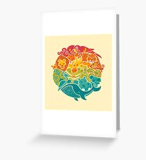 Animal Rainbow - cream Greeting Card