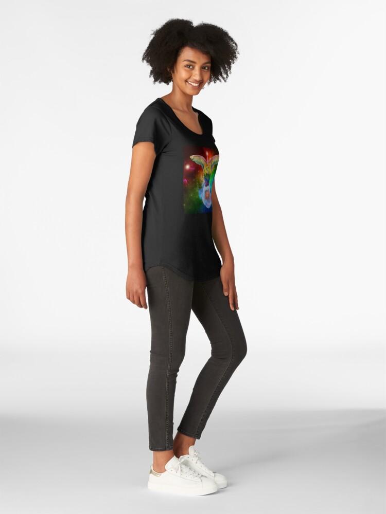 Vista alternativa de Camiseta premium de cuello ancho Rainbow Mewnicorn en Spacez