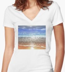 Beach Women's Fitted V-Neck T-Shirt