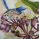 Blue Wren on Gum Nuts  (Sold) by sandysartstudio