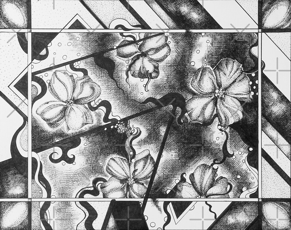 Floral Space, Ink Drawing by Danielle Scott