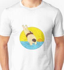 Japanese Sumo Wrestler Diving Sea Sunset Circle Drawing T-Shirt