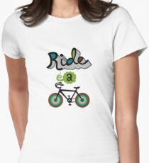 Ride a bike 3 Womens Fitted T-Shirt