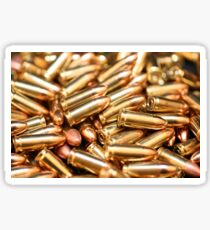A close up image of metallic bullets Sticker