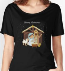 Merry Christmas & Nativity Scene Christian Women's Relaxed Fit T-Shirt