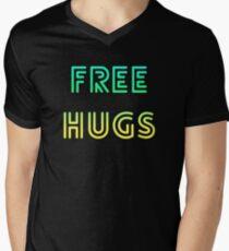Kostenlose Umarmungen, gute Stimmung, Lächeln, Freundlichkeit und Liebe für die Menschheit T-Shirt mit V-Ausschnitt
