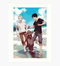 Beach day with Makkachin Art Print