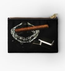Cigars and accessories on a black background Studio Pouch