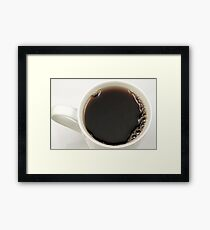 Black coffee in a white cup from above Framed Print