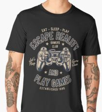 Escape Reality Play Games Retro Vintage Distressed Design Men's Premium T-Shirt