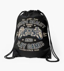 Escape Reality Play Games Retro Vintage Distressed Design Drawstring Bag