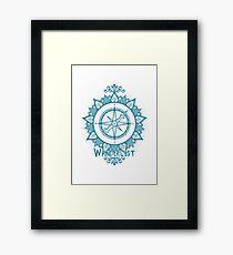 Wanderlust Compass Design - Blue Framed Print