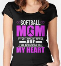 Softball Moms Full Heart Mothers Day T-Shirt Women's Fitted Scoop T-Shirt