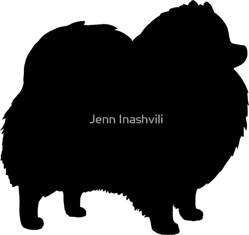 """Black Pomeranian Dog Silhouette(s)"" Stickers by Jenn ..."