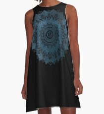 BOHOCHIC MANDALA IN BLUE A-Line Dress