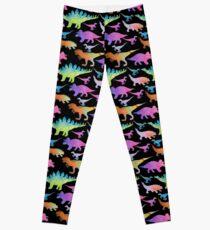 Dinosaur rainbow on black Leggings