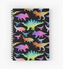 Dinosaur rainbow on black Spiral Notebook