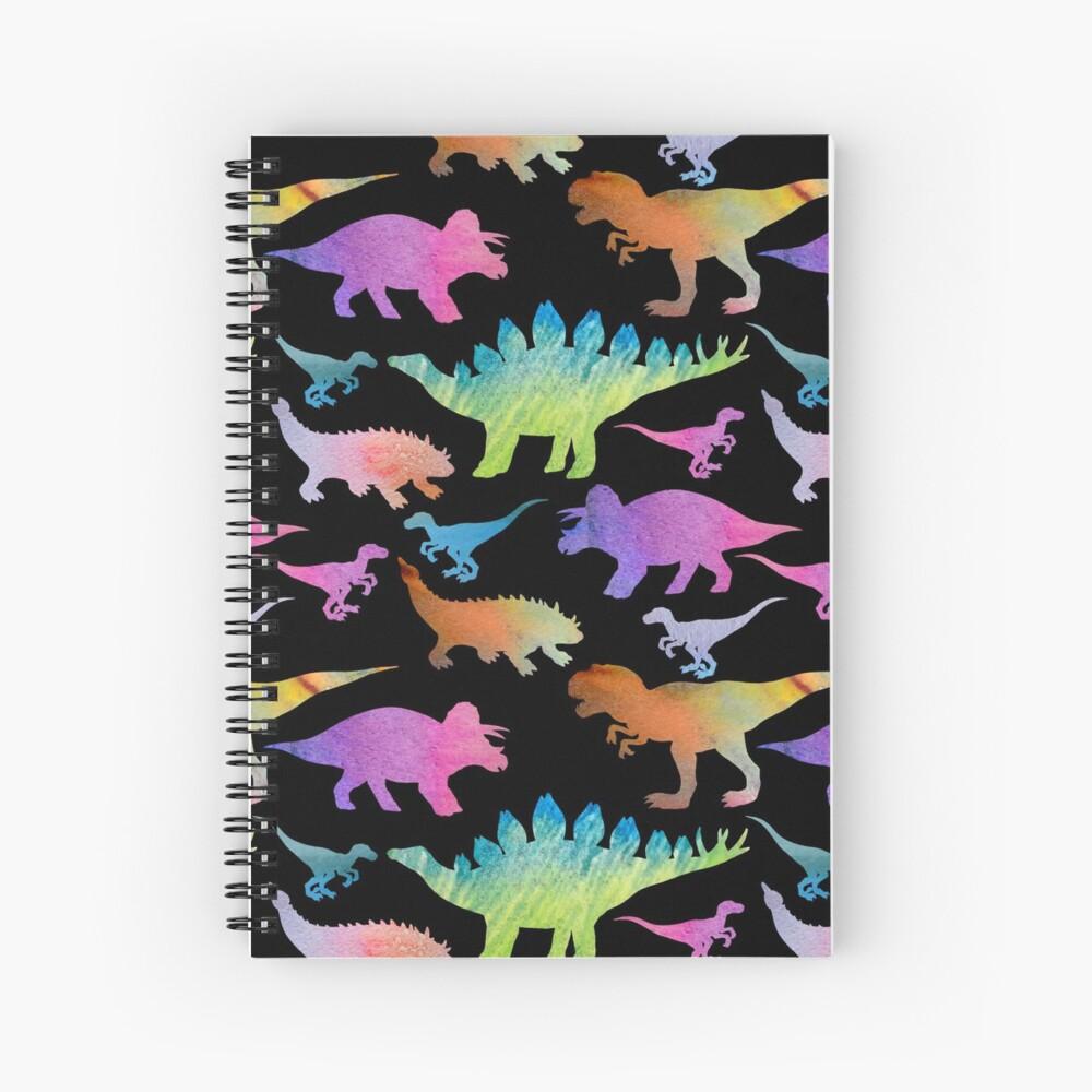 Arco iris de dinosaurio en negro Cuaderno de espiral