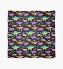 Dinosaur rainbow on black Scarf
