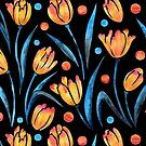 Watercolor tulips on black by Artkettu