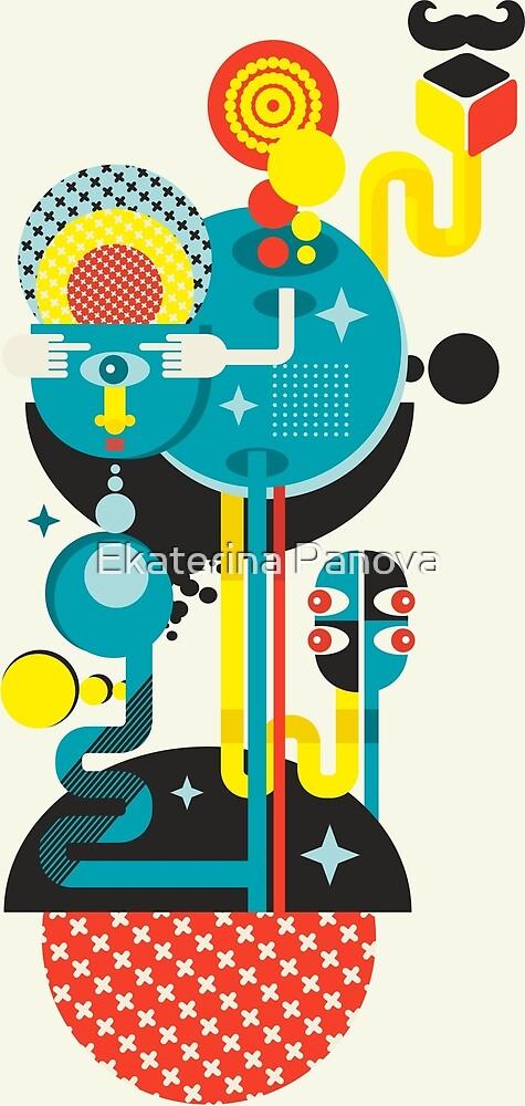 Blue monster pattern by Ekaterina Panova