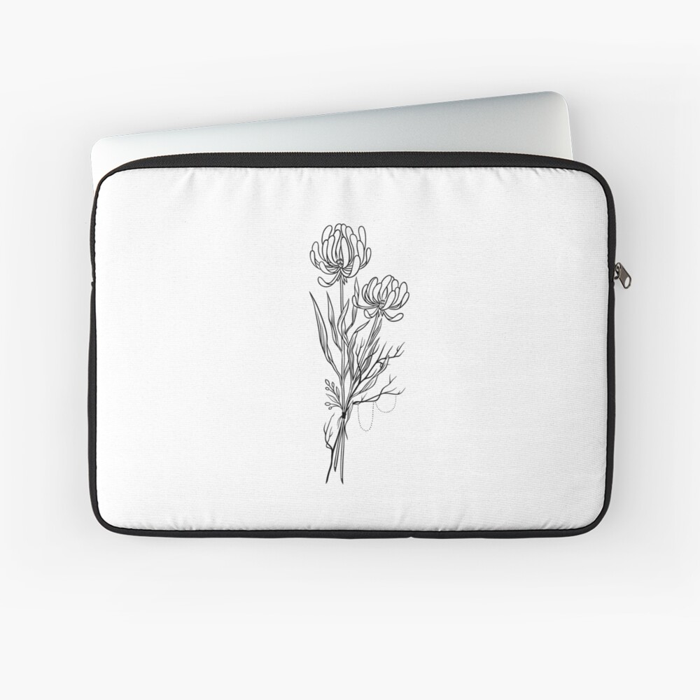 Flowers Lineart Tattoo Style // Black and White Laptop Sleeve Front