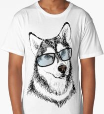 Fashionable dog with glasses Long T-Shirt