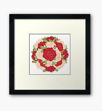 Round Bunch of Red and Beige Roses Framed Print
