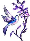 Shades of Purple - Humming Bird by Linda Callaghan