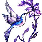 Shades of Purple - Humming Bird by Linda Callaghan