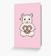 I love you more than this hamster loves pretzels Greeting Card