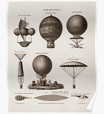 Early Balloon Designs - Vintage Aeronautics  Poster