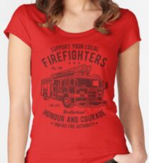Firefighter Honour And Courage Retro Vintage Distressed Design Women's Fitted Scoop T-Shirt