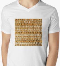 Golden Ancient Textured Pattern Mens V-Neck T-Shirt