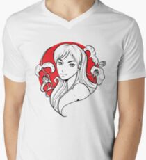Manga Red Sun Girl #1 Mens V-Neck T-Shirt