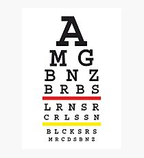 Tuned MB cars Snellen eye test with German flag Photographic Print