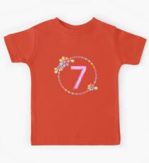 Charming 7th Birthday Shiny Rainbow Jewel Cute Gift Kids Clothes