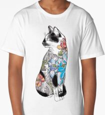 Cat in Lotus Tattoo Long T-Shirt
