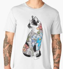 Cat in Lotus Tattoo Men's Premium T-Shirt
