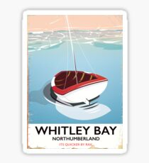 Whitley Bay Northumberland vintage travel poster  Sticker