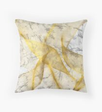 White Marble With Gold Line Pattern Throw Pillow