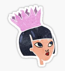 retro cartoon woman wearing paper crown Sticker