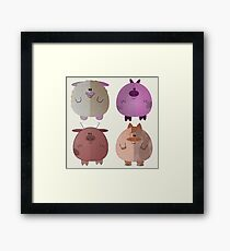 Four fat farm animals Framed Print