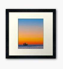 a ship in the horizont Framed Print
