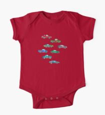 Little Toy Cars in Watercolor on White One Piece - Short Sleeve