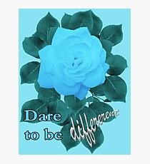 Dare to Be Different - Turquoise Blue Rose Photographic Print