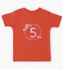 Charming 5th Birthday Shiny Rainbow Jewel Cute Gift Kids Clothes