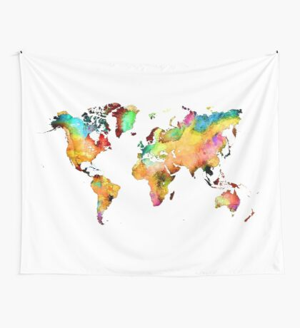 world map 71 Wall Tapestry