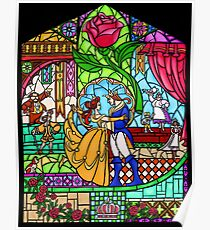 Happily Ever After 4 - Beauty and the Beast Stained Glass Rose Window Poster