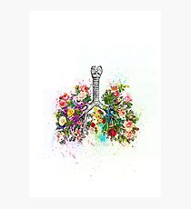 Flowers Ribs Skeleton Watercolor Photographic Print